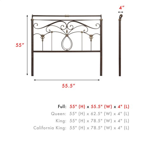 Lucinda Metal Headboard Panel with Intricate Scrollwork and Sleigh-Styled Top Rail, Marbled Russet Finish, Full