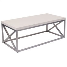 Cream Coffee Table with Silver Finish Frame