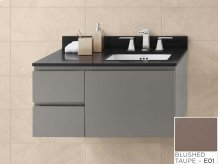 """Vanessa 36"""" Wall Mount Bathroom Vanity Base Cabinet in Blush Taupe - Large Drawer on Left"""