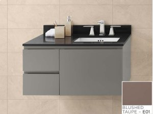 "Vanessa 36"" Wall Mount Bathroom Vanity Base Cabinet in Blush Taupe - Large Drawer on Left Product Image"