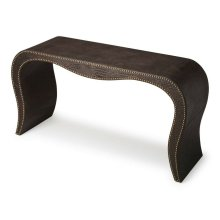 The sexy curves gradually tapering to the floor ensure this table will be a bright spot in an already well-furnished room. Select hardwood solids and wood products are painstakingly upholstered with crocodile-embossed leather, and complementary nail heads