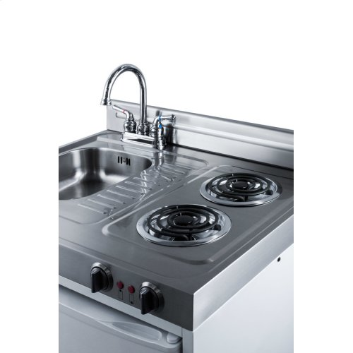 All In One Kitchen Appliance.30 Inch Wide All In One Kitchenette With 2 Burner 115v Coil Cooktop Refrigerator Freezer Sink And Storage Cabinet