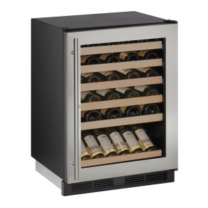 """U-Line1000 Series 24"""" Wine Captain(r) Model With Stainless Frame (lock) Finish and Field Reversible Door Swing (115 Volts / 60 Hz)"""