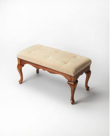 This delightful Queen Anne styled bench is a wonderful addition to any bedroom, entryway or sitting area. It is crafted from selected hardwood solids and wood products. Features a button-tufted chenille upholstered cushion and warm Olive Ash Burl finish.