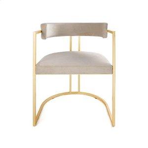 Worlds Away Barrel Back Chair Gold Leaf Base In Cream Velvet
