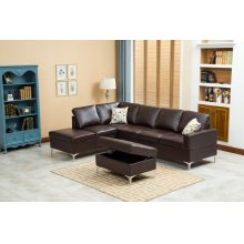 Maya Chocolate Brown Sectional with Storage Ottoman