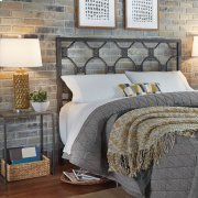 Baxter Metal Headboard with Geometric Octagonal Design, Heritage Silver Finish, Queen Product Image