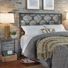 Baxter Metal Headboard with Geometric Octagonal Design, Heritage Silver Finish, Queen