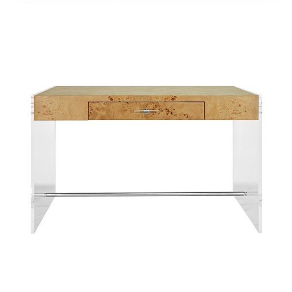 Acrylic Side Panel Desk With Burlwood Top