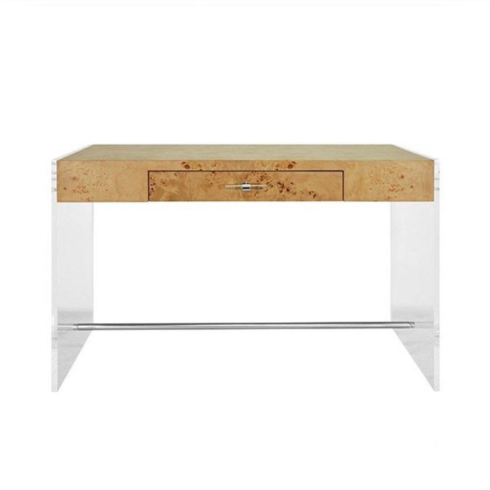 Acrylic Side Panel Desk With Burlwood Top