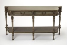Quickly transform any room or hallway in your home with this console table. Made of Poplar wood, resin components, and Cherry veneers, this console table features a gray painted finish. The two drawers with antique brass finished hardware and lower shelf