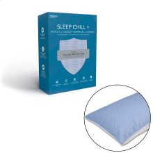 Sleep Chill + Crystal Gel Pillow Protector with Cooling Fibers and Blue 3-D Fabric, Standard / Queen