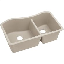 "Elkay Quartz Classic 32-1/2"" x 20"" x 10"", 60/40 Double Bowl Undermount Sink, Putty"