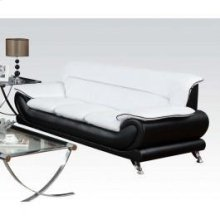 Wh/bk Bonded Leather Sofa