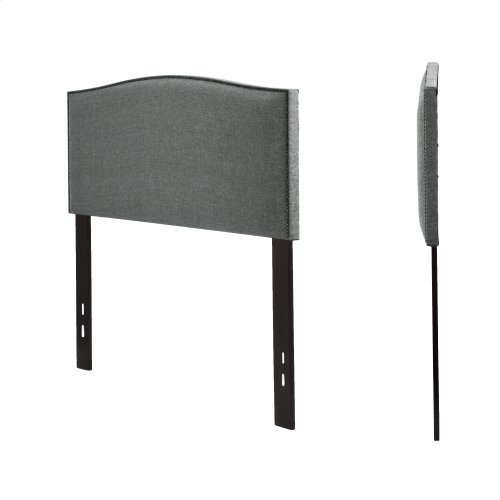 Easton Upholstered Headboard with Adjustable Height and Sloping Nailhead Trim, Keystone Gray Finish, Full / Queen