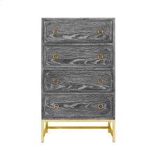 Upright 4 Drawer Dresser In Black Cerused Oak With Brass Hardware and Base.