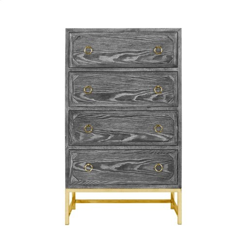 Upright 4 Drawer Dresser In Black Cerused Oak With Brass Hardware and Base.