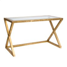 Gold Leaf Desk With Beveled Glass Top.