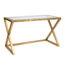 Gold Leaf Desk With Beveled Glass Top.