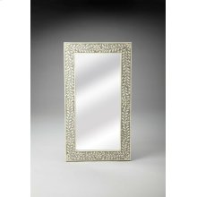 This magnificent Wall Mirror features sophisticated artistry and consummate craftsmanship. The botanic patterns covering the piece are created from white bone inlays cut and individually applied in a gray blend by the hands of a skillful artisan. No two m
