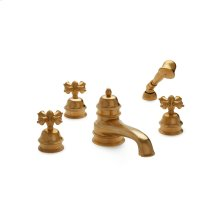 Antique Gold Grey Series II Cross Handle Deck Mount Tub Set with Classical Hand Shower