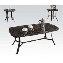 3pc Pk C/t Set Bk Faux Marble