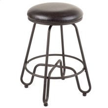 Denver Backless Swivel Seat Bar Stool with Umber Finished Metal Frame and Brown Faux Leather Upholstery, 30-Inch Seat Height