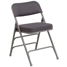 Premium Curved Triple Braced & Quad Hinged Gray Fabric Metal Folding Chair