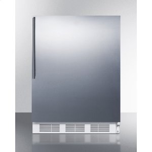 SummitADA Compliant Built-in Undercounter All-refrigerator for General Purpose Use, Auto Defrost W/ss Wrapped Door, Thin Handle, and White Cabinet