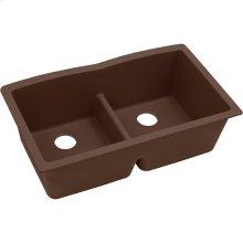 """Elkay Quartz Classic 33"""" x 19"""" x 10"""", Equal Double Bowl Undermount Sink with Aqua Divide, Mocha"""