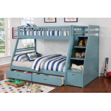 Merlin Light Blue Twin over Full Staircase Bunkbed with 2 Storage Drawers