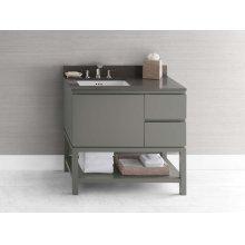 "Chloe 36"" Bathroom Vanity Base Cabinet in Slate Gray - Large Drawer on Left"