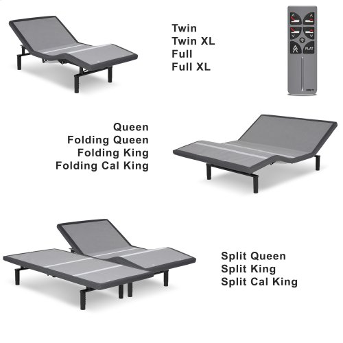 Falcon 2.0+ Low-Profile Adjustable Bed Base with Under-Bed Lighting, Charcoal Gray, Split Queen