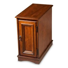 Selected solid woods and choice cherry veneers. Cherry veneer top, pull out tray and paneled door.
