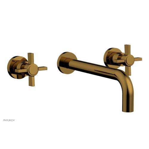 "Basic Wall Tub Set 10"" Spout - Blade Cross Handles D1137-10 - French Brass"