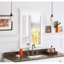 "Transitional 24"" x 33"" Solid Wood Framed Bathroom Mirror in White"