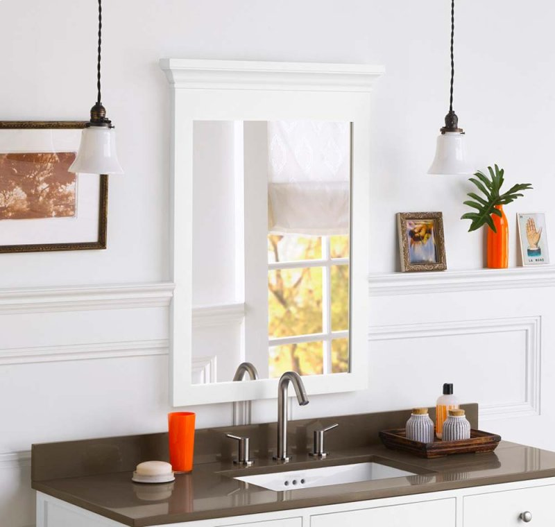 Transitional 24 X 33 Solid Wood Framed Bathroom Mirror In White