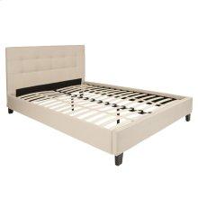 Queen Size Upholstered Platform Bed in Beige Fabric