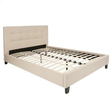 Queen Size Upholstered Platform Bed in Beige Fabric