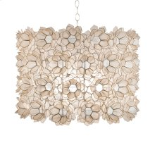 Floral Capiz Pendant. Two Light Cluster Uses Two 60w Bulbs. Comes With Diffuser and 3' Chrome Chain and Canopy. Additional Chain May Be Purchased Upon Request.