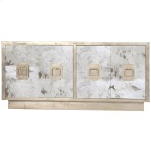 Antique Mirror 4-door Entertainment Console With Champagne Silver Leaf Detailing- Silver Leaf Iron Handles and Fixed Interior Shelf