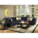 Keaton Transitional Midnight Blue and Black Armless Chair Product Image