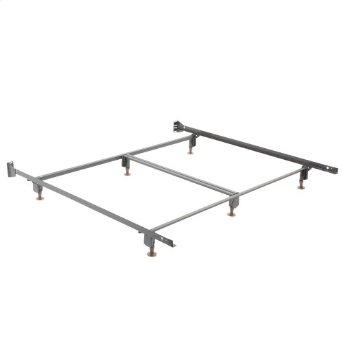 Inst-A-Matic Premium Bed Frame 777G with Headboard Brackets and (6) 2-Piece Glide Legs, Black Finish, King