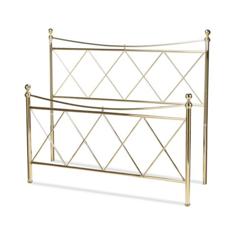 Lennox Metal Headboard and Footboard Bed Panels with Diamond Pattern Design and Downward Sloping Top Rails, Classic Brass Finish, California King