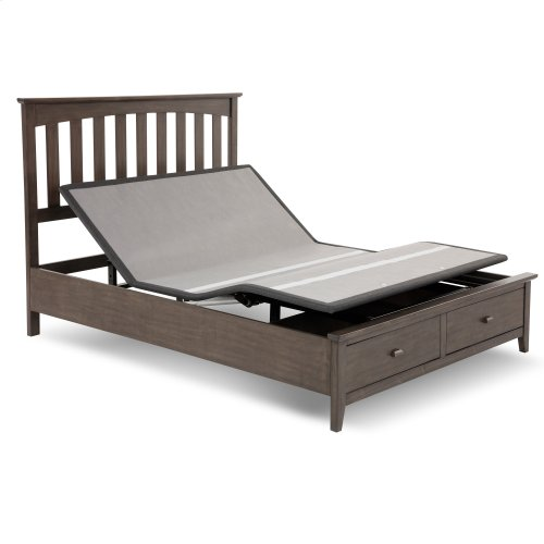 Sunrise 2 Slim-Profile Adjustable Bed Base for Platform Beds with Adjustable Legs, Charcoal Gray, Queen