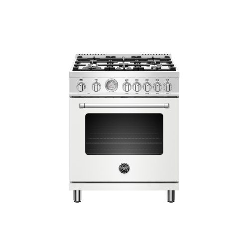 30 inch Dual Fuel, 5 Burners, Electric Oven Matt White