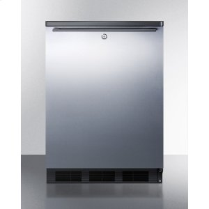 Commercially Listed Freestanding All-refrigerator for General Purpose Use, Auto Defrost W/ss Wrapped Door, Horizontal Handle, Lock, and Black Cabinet -