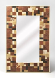 Get ready in style with this stunning wall mirror. Beautifully beveled and featuring gorgeous leather on its wood framing, this wall mirror will make an elegant accent to a classy bathroom, transitional entryway, or bare hall space. This charming piece wi