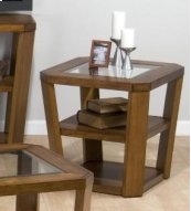 End Table W/ 2 Shelves - Glass Top