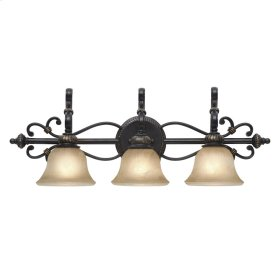 Jefferson 3 Light Bath Vanity in Etruscan Bronze with Antique Marbled Glass